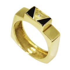 Золотое кольцо с фианитом и эмалью ZT-700173