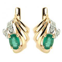 Золотые серьги с изумрудами и бриллиантами BL-1042