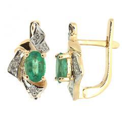 Золотые серьги с изумрудами и бриллиантами BL-1045