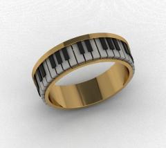 Золотое кольцо фианитами Фортепиано ARR-007