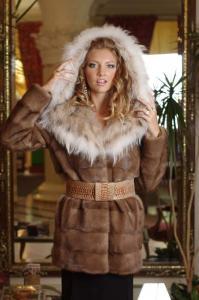 Fur coat fur jacket Mink (Canada) trimmed with