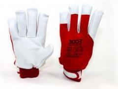 Перчатки 3003 DRIVER хлопок/кожа CE/DH/R (63044)