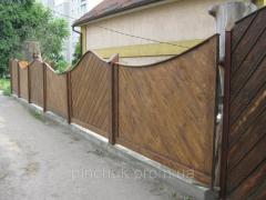 Деревянный забор сплошной.Как образец.