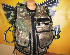 Vest for hunting and fishing, the fisherman's