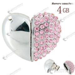 Элегантная USB флешка 4 GB в форме сердца с