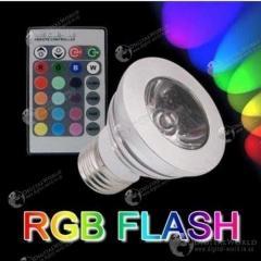 16-ти цветная LED лампочка освещения мощностью 3Вт