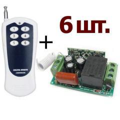 Комплект выключателей 220В: 6 выключателей, пульт