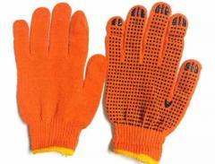 Трикотажные перчатки с ПВХ нанесением оранжевые