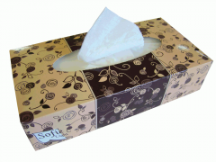 Tissues in a box with a logo the self-extended,