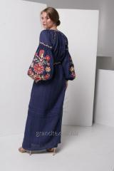 Вышитое платье женское лен 100% длинное синее