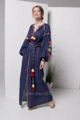 Dress with embroidered female 100% linen long blue