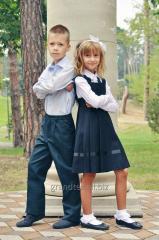 Школьный сарафан для девочек темно - синий