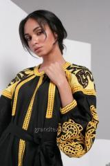 Платье с вышивкой женское длинное с поясом цвет