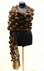 Шаль из меха норки - норковый шарф коричневая.