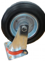 Wheels rotary with the rubber tire, with a brake