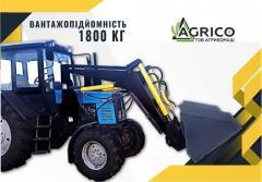 Loader on tractor PBM-1200 MTZ, YuMZ + hook + pitchfork + jaw grip