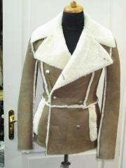 The sheepskin coat is man's, a sheepskin,