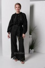 Costume female black with embroidery Richelieu