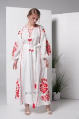 Female white dress with red embroidery long linen