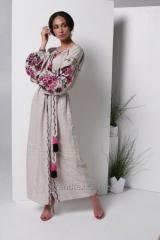 Dress with embroidered linen color linen long
