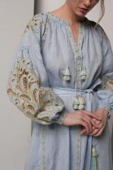 ثوب مطرز في boho نمط المرأة طويلة الكتان الأزرق