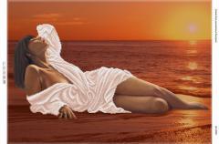 Схема для вышивания бисером Девушка на берегу моря