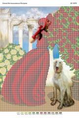 Схема для вышивания бисером Девушка в красном БС