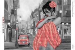 Схема для вышивания бисером Девушка в красном на