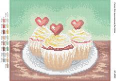 Схема для вышивания бисером Пирожные с кремом БС