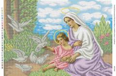Схема для вышивания бисером Мария и младенец Иисус