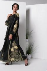 Dress embroidered women's long black linen