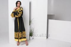 Dress embroidered women's long belted black