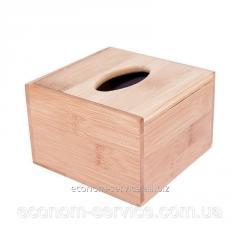 Диспенсер настольный квадратный бамбуковый под