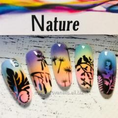Stencil for airbrushing the nails Nature
