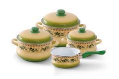 """Набор посуды эмалированная сталь 3 / 1 диаметр 16,20,24см + ковш без кр.диаметр 16см 2; 3,5; 5,5 + 1,5л 2071 """"Оливки"""" Эмина"""