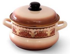 """Набор посуды эмалированная сталь 3 / 1 диаметр 16,20,24см + ковш без кр.диаметр 16см 2; 3,5; 5,5 + 1,5л 2178 """"Терракот"""" Эмина"""