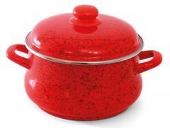 """Набор посуды эмалированная сталь 3 / 1 диаметр 16,20,24см + ковш без кр.диаметр 16см 2; 3,5; 5,5 + 1,5л """"Рубин"""" Эмина"""