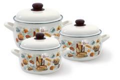 """Набор посуды эмалированная сталь 3 / 1 диаметр 14,18,22см 1,7, 3, 5,3л 2426 """"Хлеб"""" Принц"""