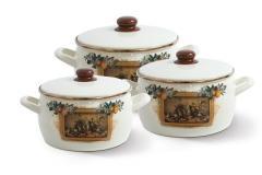 """Набор посуды эмалированная сталь 3 / 1 диаметр 16,20,22см 2,2, 4, 5,3л 2278 """"Мадрид"""" Принц"""