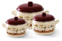 """Набор посуды эмалированная сталь 3 / 1 диаметр 16,20,22см 2,2, 4, 5,3л 2327 """"Повара"""" Принц"""