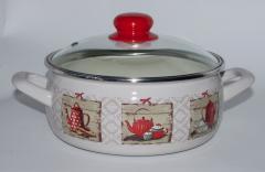 """Набор посуды эмалированная сталь 3 / 1 диаметр 18,20,22см 2,5; 3,35; 4,5 2638 """"Чаепитие"""" Принц"""