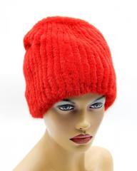 Норковая женская меховая шапка на вязаной основе