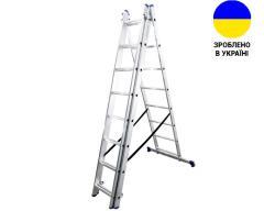 Алюминиевая трехсекционная лестница 3х8 ступеней