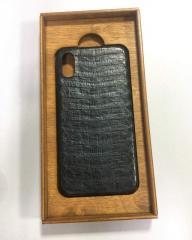 Чехол для мобильного телефона Iphone Applt X,черного цвета,натуральная кожа