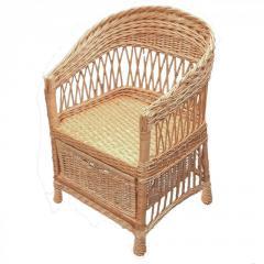 Кресло плетеное из лозы с шухлядой