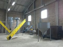 Equipment for drying and production of briquettes,