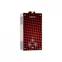 Газова колонка Dion JSD 08 скло з дисплеєм димохідна червона (Вікторія)