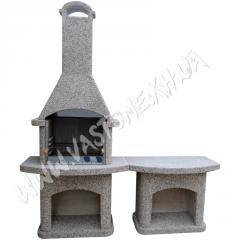 Камин-барбекю садовый «Рио» со столом Мрамор серый