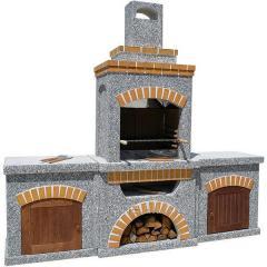 Камин, печь барбекю «Манчестер» с двумя столами и