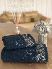 Полотенце махровое жаккардовое Лесная сказка синие